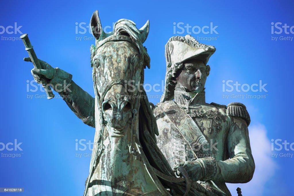 Statue of Charles XIV John former king of Sweden in Stockholm, Sweden stock photo