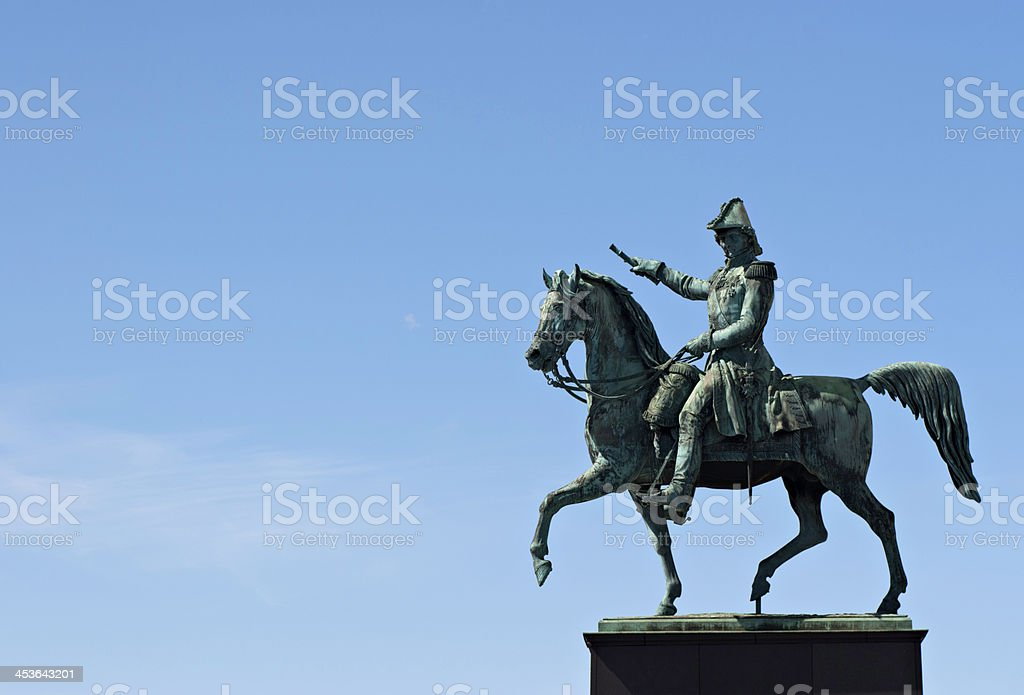 Statue of Charles XIV John located at Slussplan, Stockholm. stock photo