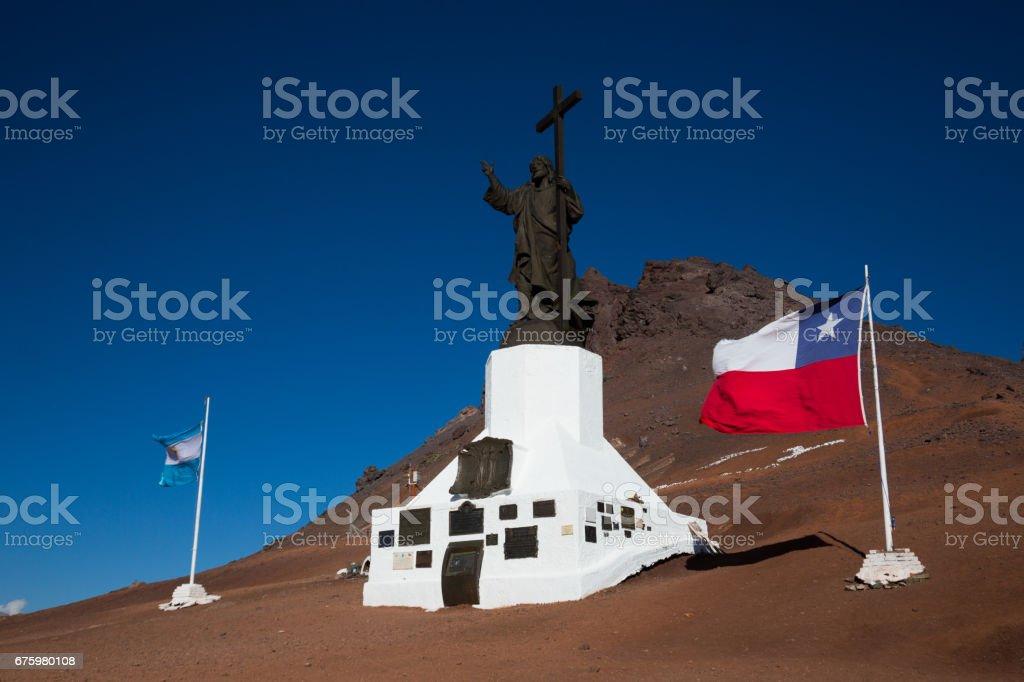 Statue of Christ, Paso Los Libertadores stock photo