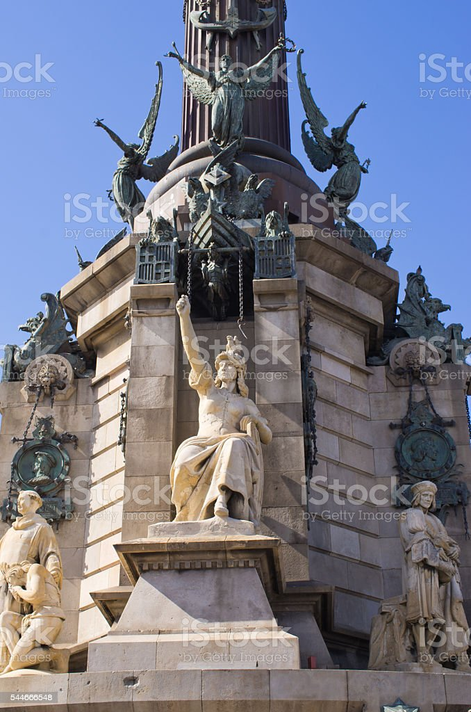 Statue of Christopher Columbus in Barcelona - Spain stock photo