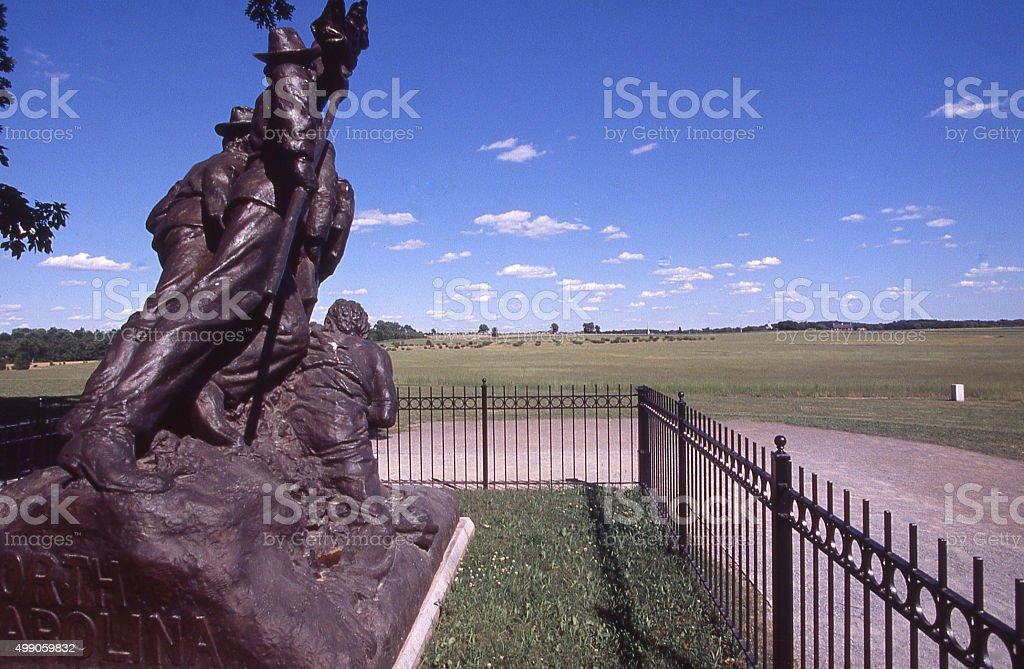 Statue of Confederate Soldiers Pickett's Charge Gettysburg Battlefield Gettysburg Pennsylvania stock photo