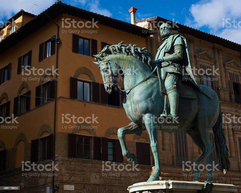 Statue of Cosimo I Medici, Florence, Italy stock photo
