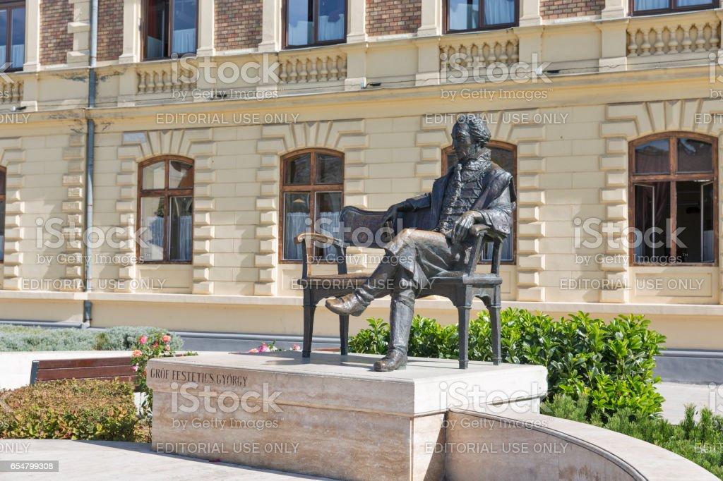 Statue of Count Gyorgy in Keszthely, Lake Balaton, Hungary. stock photo