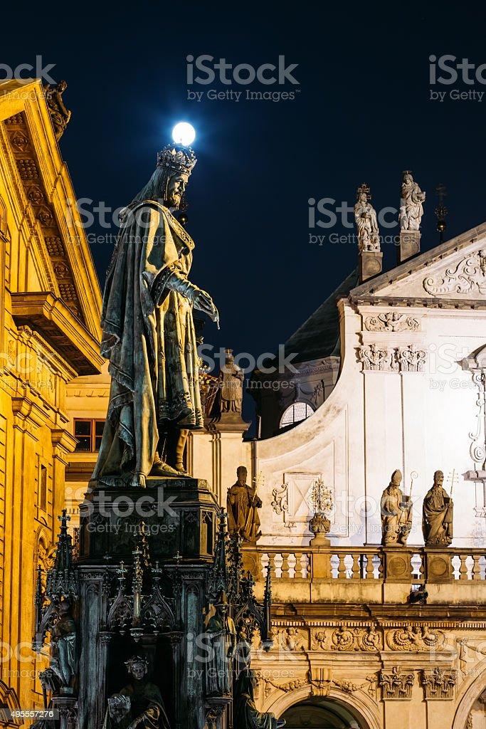 Statue Of Czech King Charles Iv In Prague, Czech Republic stock photo