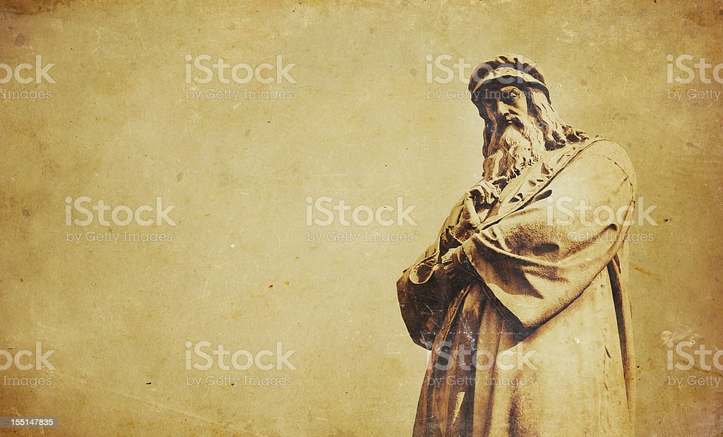 statue of da vinci stock photo