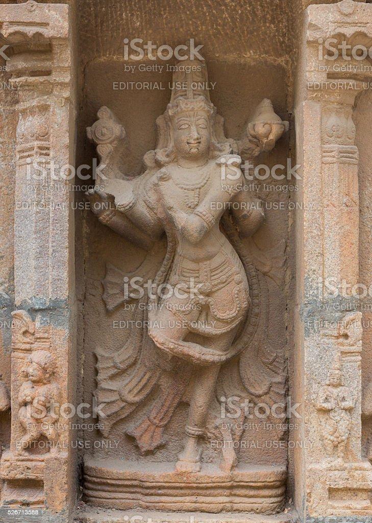 Statue of dancing Vishnu at Shirangam Temple. stock photo