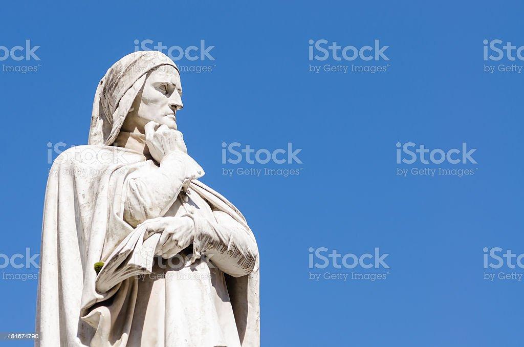 statue of Dante Alighieri, piazza dei Signori, Verona, Italy stock photo