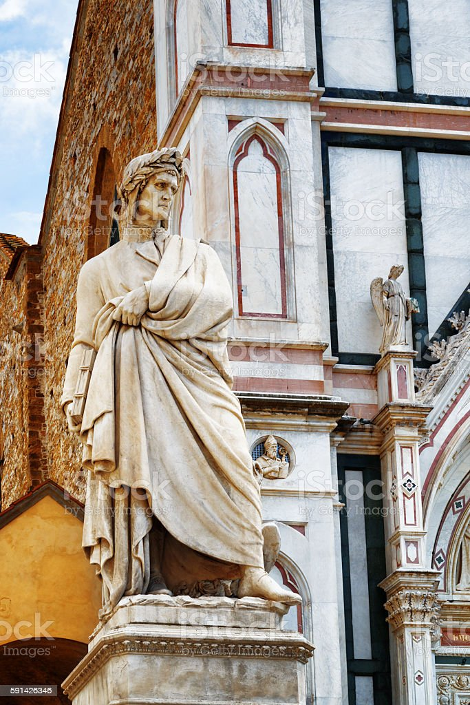 Statue of Dante in front of Basilica Santa Croce. Florence stock photo