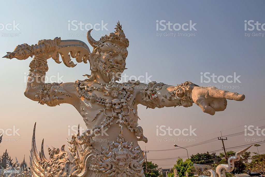 Statue of demon in Asian mythology stock photo