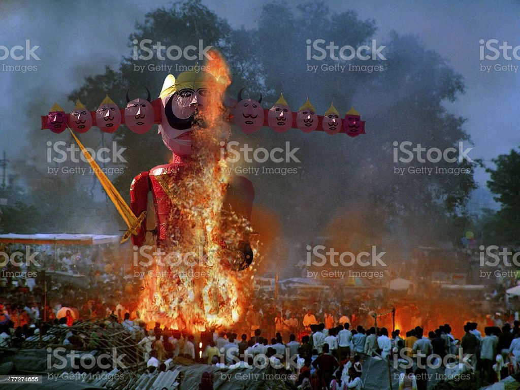 Statue of demon ravan effigy in dussera dusera festival, India royalty-free stock photo