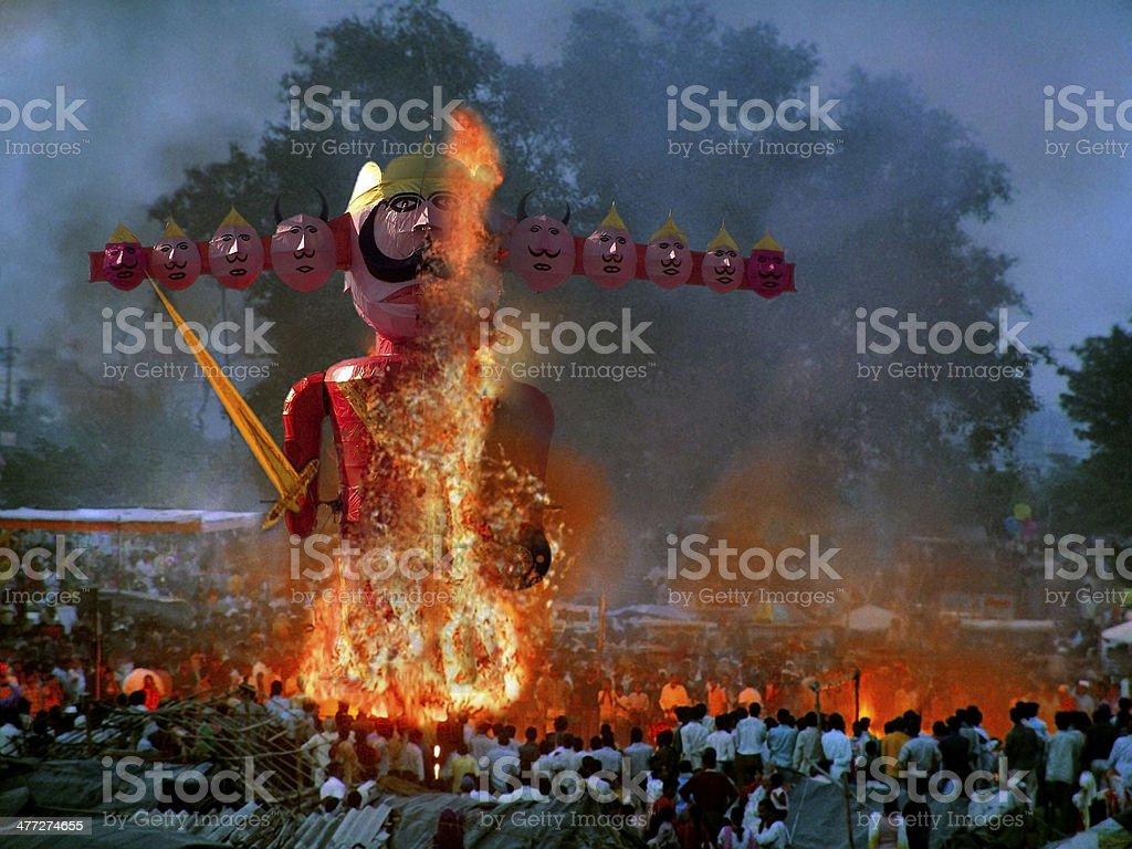 Statue of demon ravan effigy in dussera dusera festival, India stock photo
