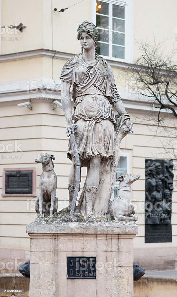 Statue of Diana goddes in Lviv, Ukraine stock photo