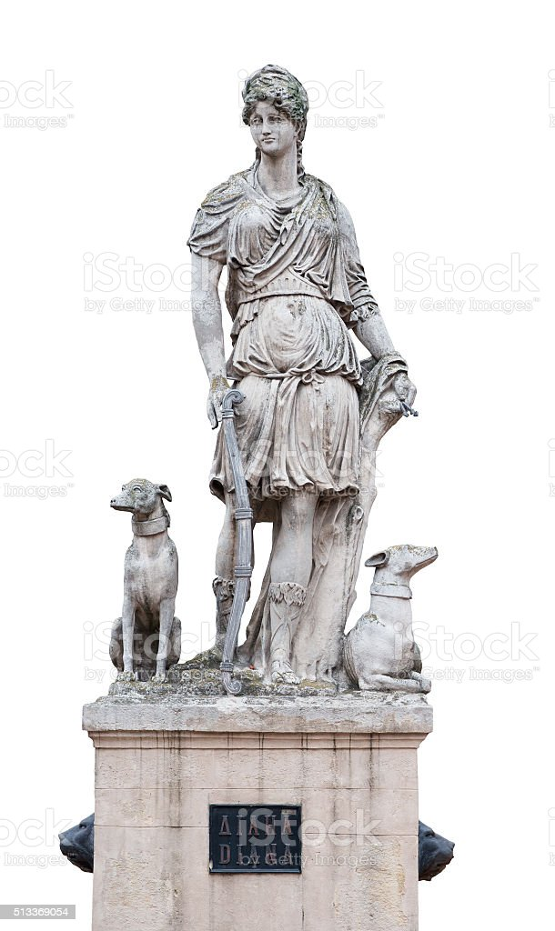 Statue of Diana goddess isolated on white stock photo