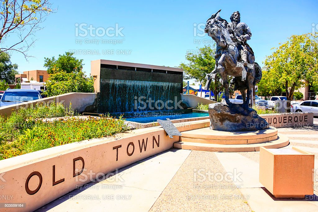 Statue of Don Francisco Cuervo y Valdis stock photo