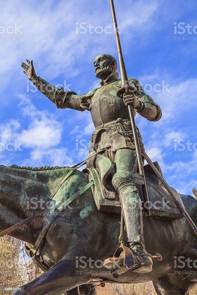 Statue of Don Quixote in Madrid stock photo