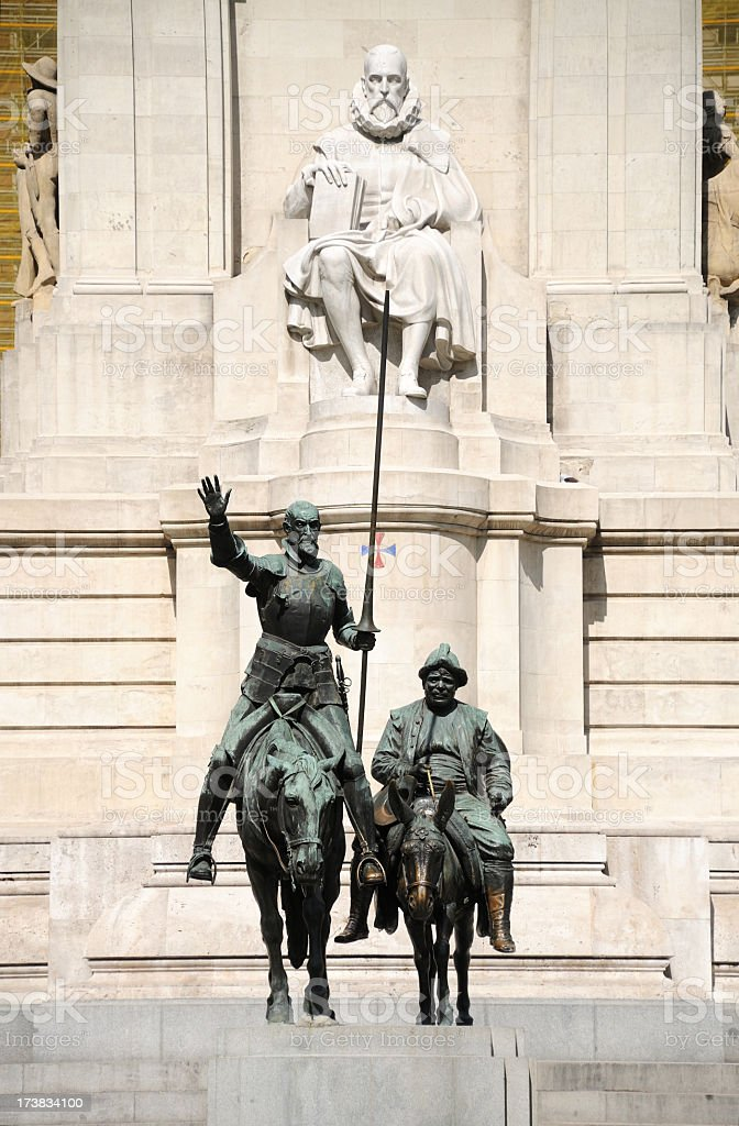 A statue of Don Quixote, Sancho Panza and Cervantes stock photo