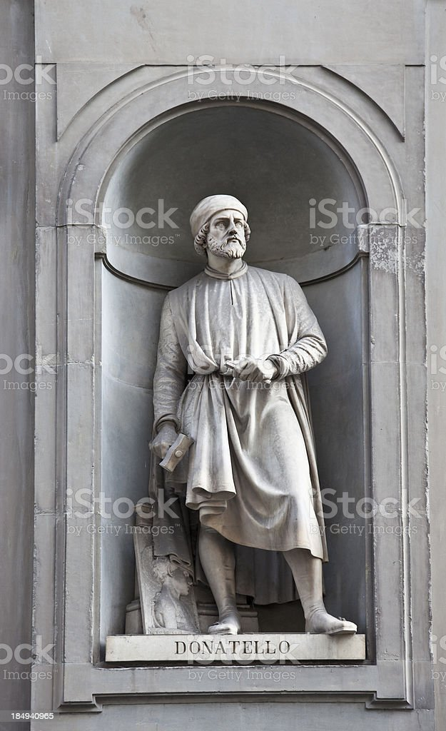 'Statue of Donatello outside the Uffizi Gallery, Florence' stock photo