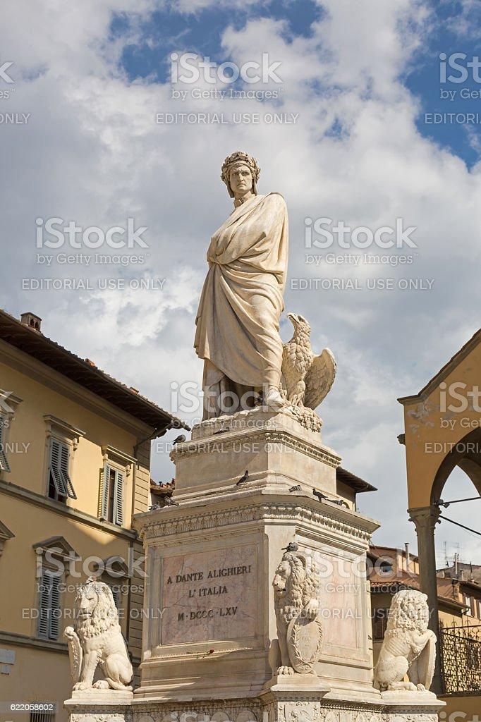 Statue of Durante degli Alighieri in Florence, Italy stock photo