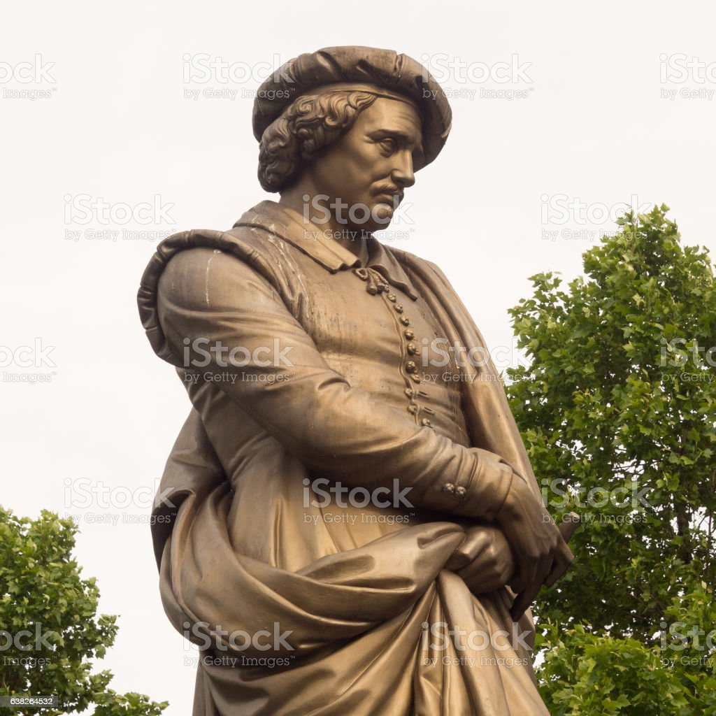 Statue of Dutch painter Rembrandt in Amsterdam, Holland stock photo
