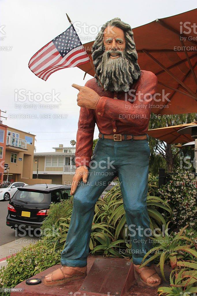 Statue of Eiler Larsen, the Greeter of Laguna Beach stock photo