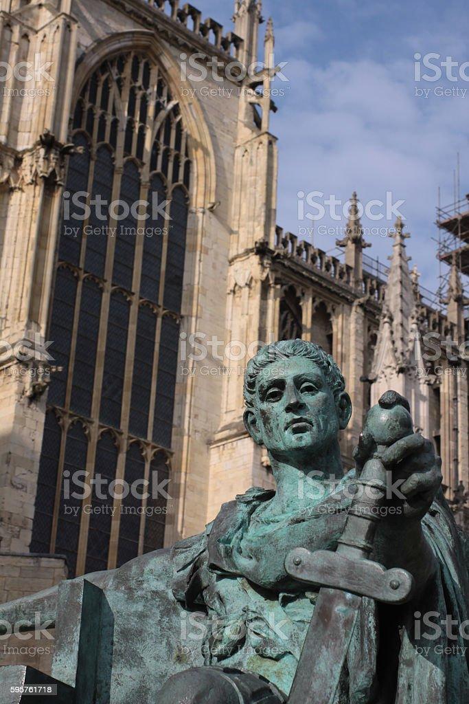 Statue of Emperor Constantine - York Minster stock photo