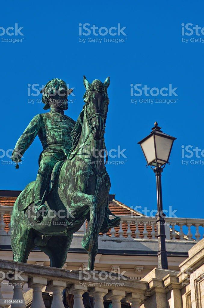 Statue of emperor Franz Joseph of Austria at downtown of Vienna stock photo