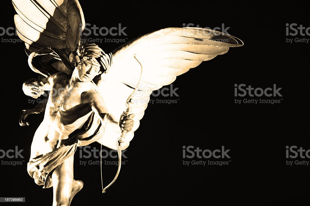 Statue of Eros at night, London, UK stock photo
