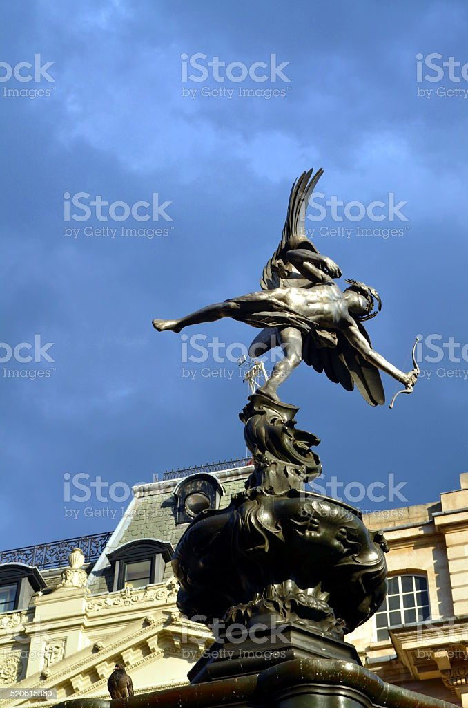 Statue of Eros at Picadilly Circus, London. stock photo