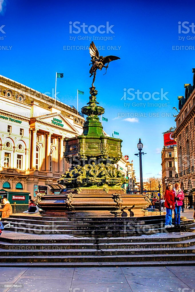 Statue of Eros in Picadilly Circus, London, UK stock photo