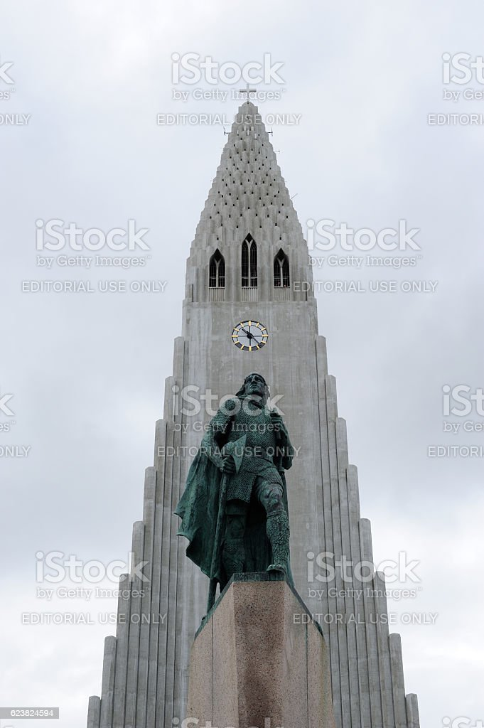 Statue of Explorer and Hallgrimskirkja Church in Iceland stock photo