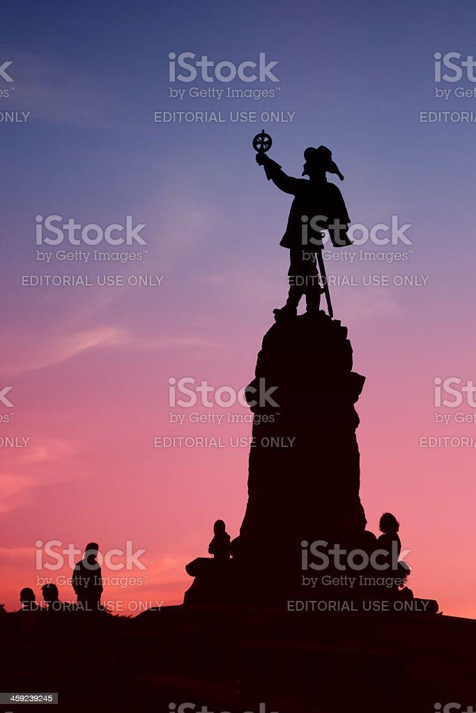 Statue of explorer Samuel de Champlain seen on Nepean's Point stock photo