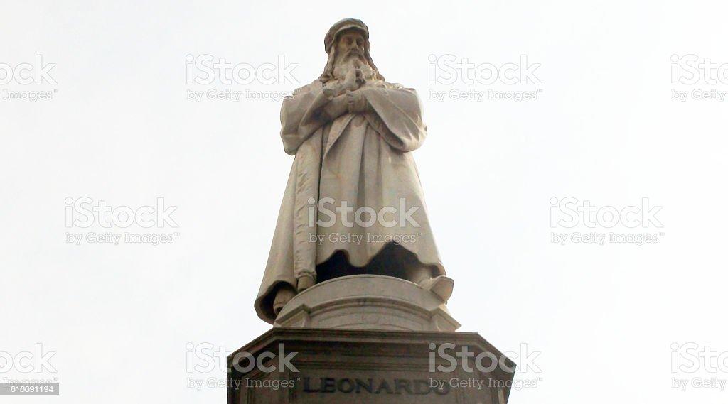 Statue Of Famous Leonardo Da Vinci Standing In Milan Italy stock photo