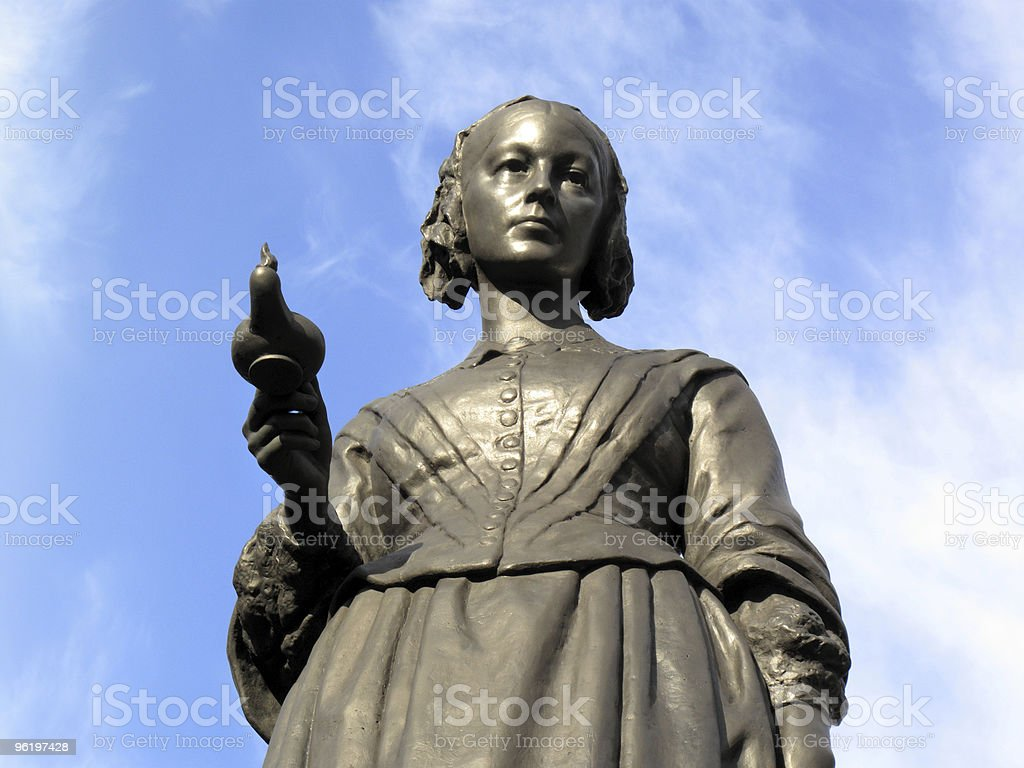 Statue of Florence Nightingale against the blue sky stock photo