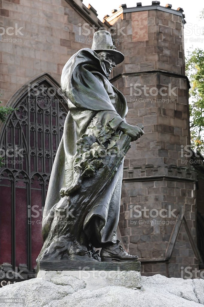 statue of founding father of Salem City stock photo