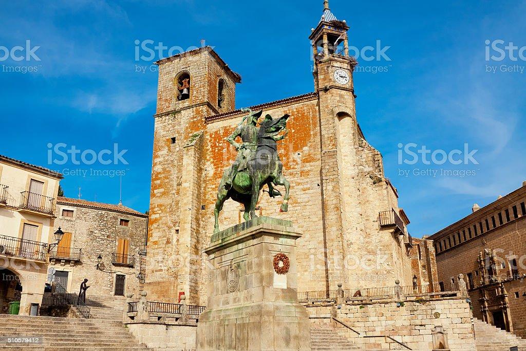 Statue of Fransisco Pisarro. Trujillo. Spain stock photo