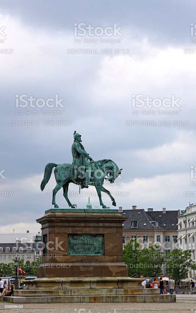 Statue of Frederik VII of Denmark in Copenhagen stock photo