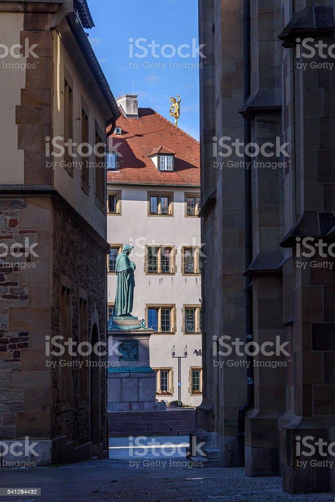 Statue of Friedrich Schiller in the Schillerplatz, Stuttgart stock photo