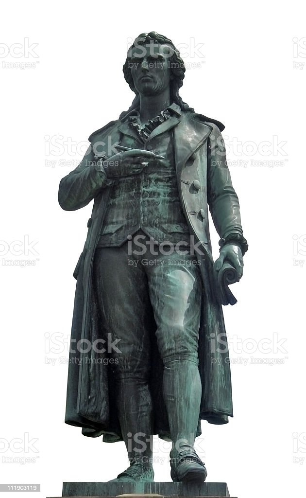 statue of Friedrich Schiller in white back stock photo