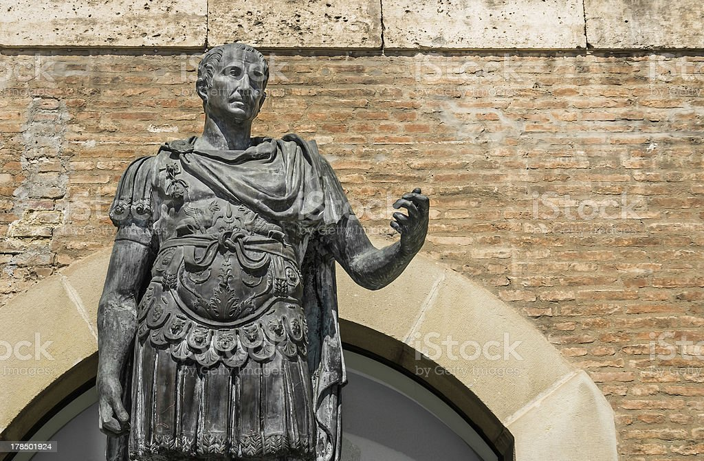 Statue of Gaius Julius Caesar in Rimini, Italy stock photo