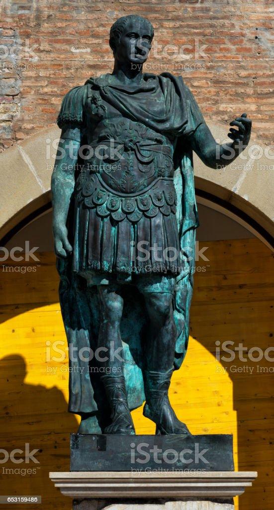 Statue of Gaius Julius Caesar in Rimini stock photo