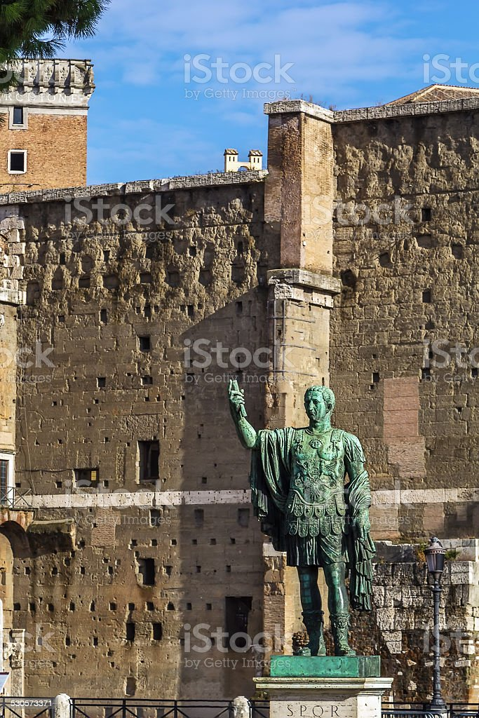 Statue of Gaius Julius Caesar, Rome stock photo