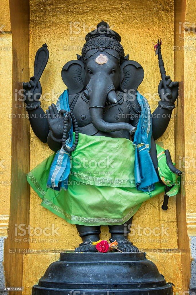 Statue of Ganesha in Sri Veeramakaliamman Temple in Little India stock photo