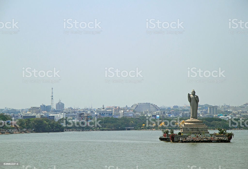 statue of Gautam Buddha in Hyderabad stock photo