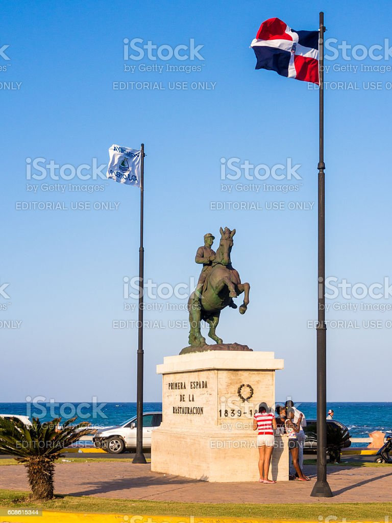 Statue of General Gregorio Luperon in Puerto Plata, Dominican Republic stock photo