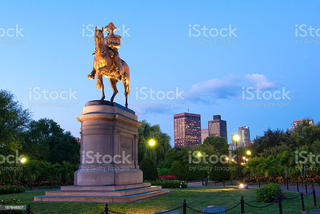 Statue of George Washington in the Public Garden at night stock photo