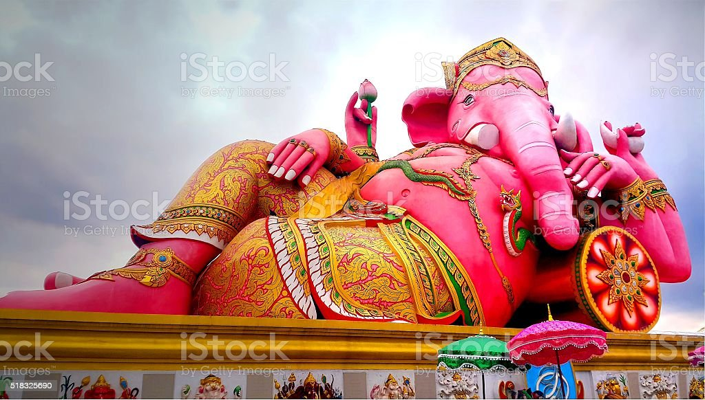 Statue of giant pink ganesha in Thailand stock photo