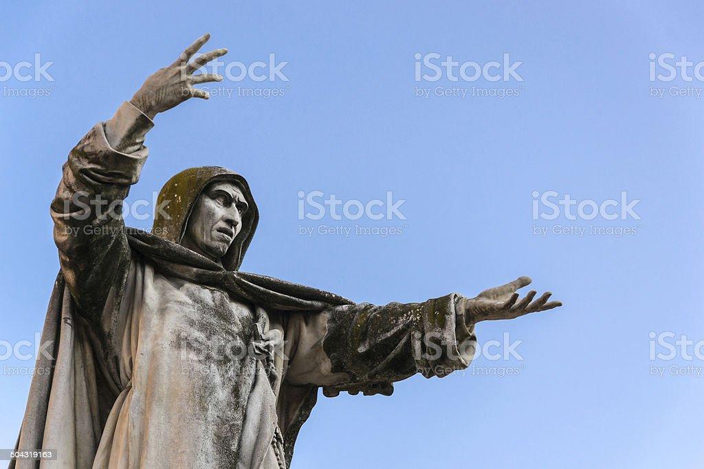Statue of Girolamo Savonarola in Savonarola square stock photo
