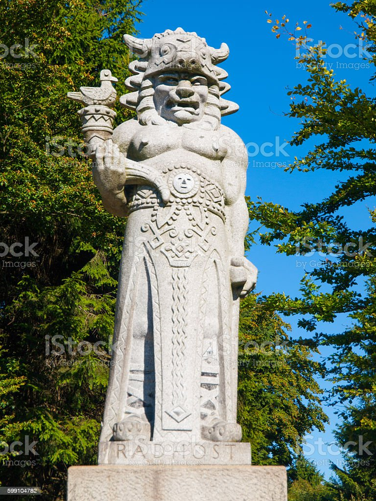 Statue of god Radegast on Radhost Mountain in Beskydy stock photo