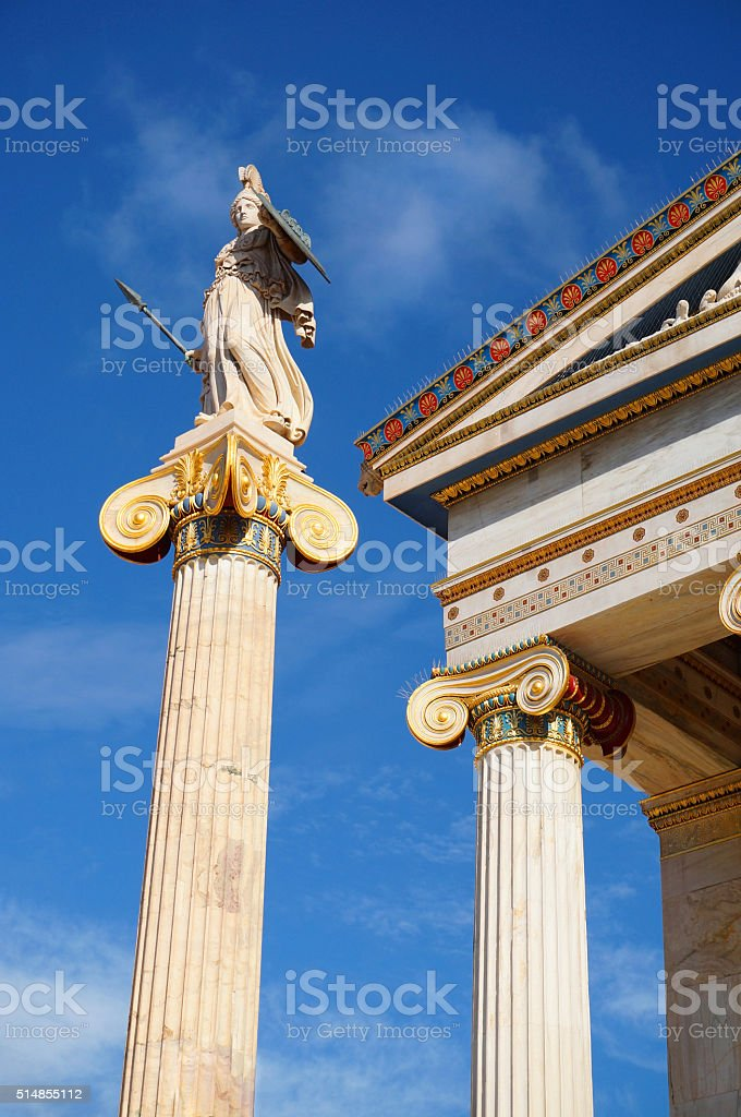 Statue of Goddess Athena at the Academy of Athens stock photo
