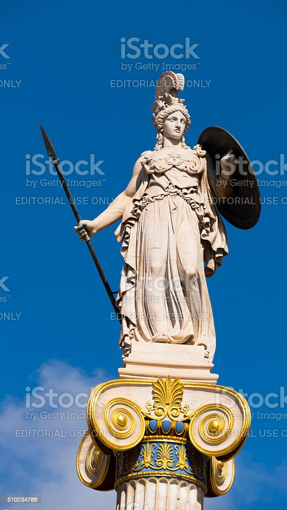 Statue of Goddess Athena from the Academy in Athens, Greece stock photo